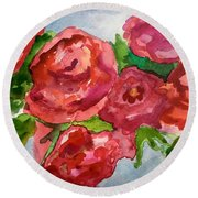 Red Roses, Red Roses Round Beach Towel