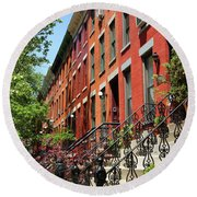 Red Row Houses Round Beach Towel