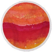 Red Saddle Original Painting Round Beach Towel