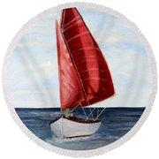 Red Sail Serenity Round Beach Towel