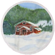 Red School House Round Beach Towel