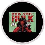 Red She-hulk Round Beach Towel