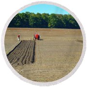 Red Shirt Red Tractor  Round Beach Towel