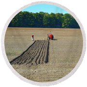 Red Shirt Red Tractor Two  Round Beach Towel