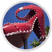 Red Shoe High Heels Round Beach Towel