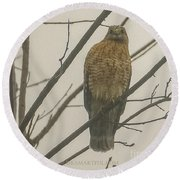 Red-shouldered Hawk Round Beach Towel