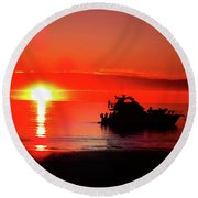 Red Silhouette Round Beach Towel