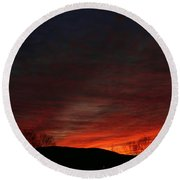 Red Skies At Night Round Beach Towel