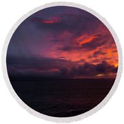 Red Skies At Night Hawaii Round Beach Towel