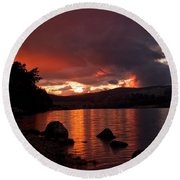 Red Skies Over Loch Rannoch Round Beach Towel