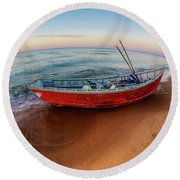 Red Skiff Round Beach Towel