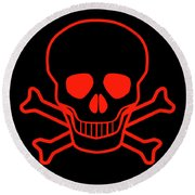 Red Skull And Crossbones Round Beach Towel