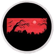 Red Sky Cemetery Round Beach Towel
