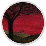 Red Sky - Dark Hills Round Beach Towel