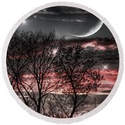 Red Sky Moon Round Beach Towel