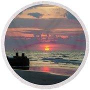 Red Sky Sun Rise Round Beach Towel