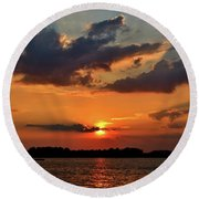 Red Sky Sunset Round Beach Towel