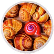 Red Snail Shell Round Beach Towel