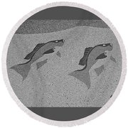 Red Snapper Inlay In Grayscale Round Beach Towel