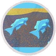 Red Snapper Inlay On Alabama Welcome Center Floor - Color Invert Round Beach Towel