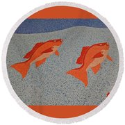 Red Snapper Inlay On Alabama Welcome Center Floor Round Beach Towel
