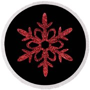 Red Snowflake Ornament Round Beach Towel