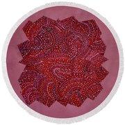 Red Spiral Round Beach Towel
