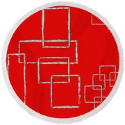 Red Squares Round Beach Towel