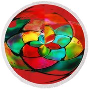 Red Stain Round Beach Towel