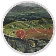 Red Steelhead Round Beach Towel
