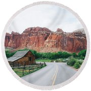 Red Stone Mountain  Round Beach Towel