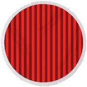 Red Striped Pattern Design Round Beach Towel