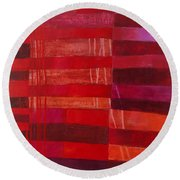 Red Stripes 2 Round Beach Towel