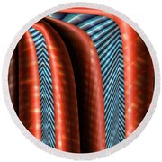 Red Structure Round Beach Towel