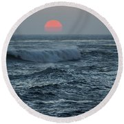 Red Sun With Wave Round Beach Towel
