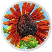 Red Sunflowers-adult And Child Round Beach Towel
