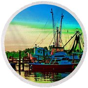 Red Sunrise And The Shrimp Boat Round Beach Towel