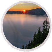 Red Sunrise At Crater Lake Round Beach Towel by John Hight