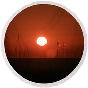 Red Sunset And Grasses Round Beach Towel