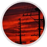 Red Sunset  Round Beach Towel