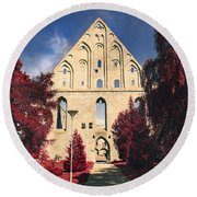 Red Surreal Abbey Ruins Round Beach Towel