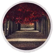 Red Surreal Path  Round Beach Towel