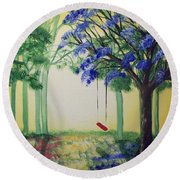 Red Swing Fantasy Round Beach Towel