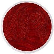 Red Swirl Round Beach Towel