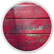 Red Table Round Beach Towel