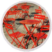 Red Tables And Chairs Round Beach Towel