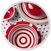 Red Teapot Round Beach Towel by Garry Gay