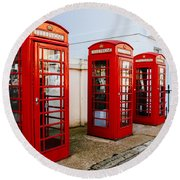 Red Telephone Booths London Round Beach Towel