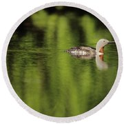Red Throated Loon Round Beach Towel