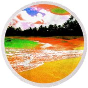 Red Tide Green Tide Round Beach Towel